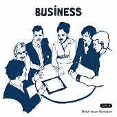stock photo of hand drawn  - Business group portrait  - JPG