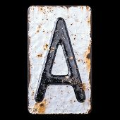 3D render capital letter A made of forged metal on the background fragment of a metal surface with c poster