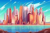 Future Metropolis Downtown, Modern City Business Center Cartoon Background With Futuristic Architect poster