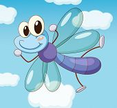 picture of mayfly  - Illustration of a dragon fly flying  - JPG