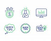 Chemistry Lab, Quick Tips And Approved Line Icons Set. Tips, Music Making And Education Idea Signs.  poster