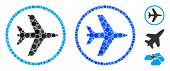 Airport Mosaic Of Filled Circles In Various Sizes And Color Tinges, Based On Airport Icon. Vector Fi poster