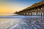 stock photo of gazebo  - Folly Beach Pier Charleston SC Coast Atlantic Ocean Pastel Sunrise vacation destination scenics - JPG