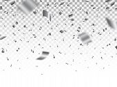 Silver Confetti Isolated On Transparent Backdrop. Luxury Bright Tinsel. Festive Decoration Elements. poster