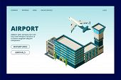 Airport Landing Page. Departures Arrivals Info Banner. 3d Airport Terminal And Flying Plane Vector I poster