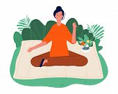 Meditation Concept. Relaxing Outdoor Yoga, Woman Sitting On Nature And Meditating. Mind And Emotions poster