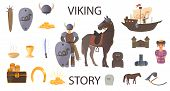 Viking Story In A Cartoon Style. Set Of Historical Characters And Scenery For A Computer Game. Vecto poster