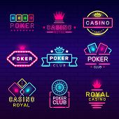 Poker Club Neon Badges. Casino Game Stamps Light Logos Nightclub Vector Collection. Illustration Gam poster