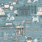 Vector Seamless Pattern On The Theme Of Ancient Greece. Repeatable Greek Background With Sketches An poster