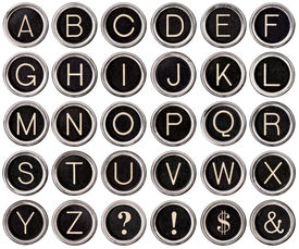 foto of ampersand  - Full alphabet of vintage typewriter keys including dollar sign ampersand exclamation and question marks - JPG
