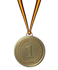 image of gold medal  - a gold medal sports awards showing  - JPG