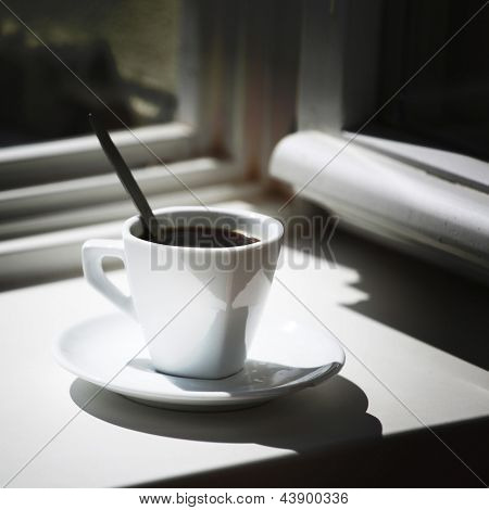 morning coffee on the window sill