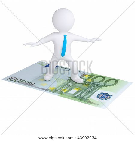 3d white man flying on the euro bill