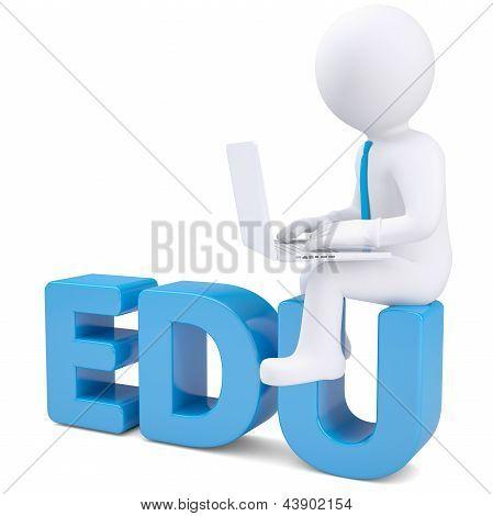 homem branco 3D com laptop sentado na palavra EDU