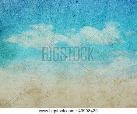 Vintage background in the blue sky with clouds
