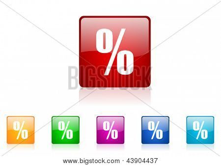 percent square web glossy icon colorful set