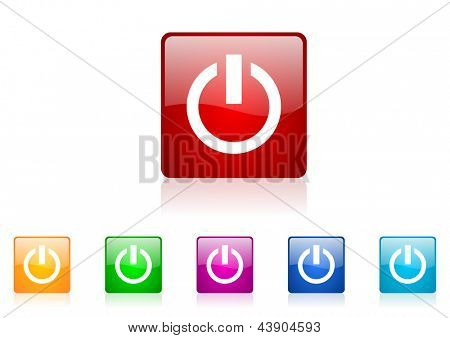 power square web glossy icon colorful set