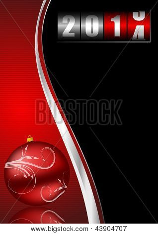 2014 new years illustration with counter and christmas ball