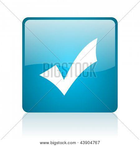 accept blue square web glossy icon