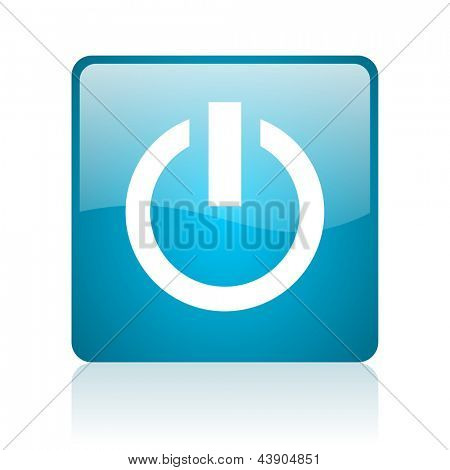power blue square web glossy icon