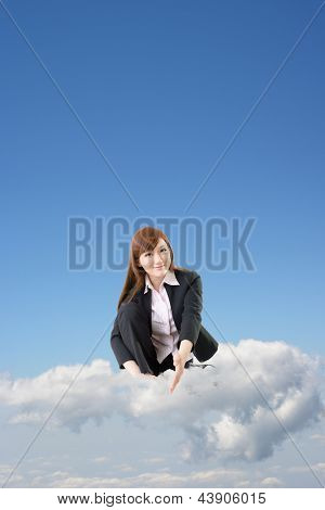 Business woman sit on cloud and shake hand with you over blue sky.