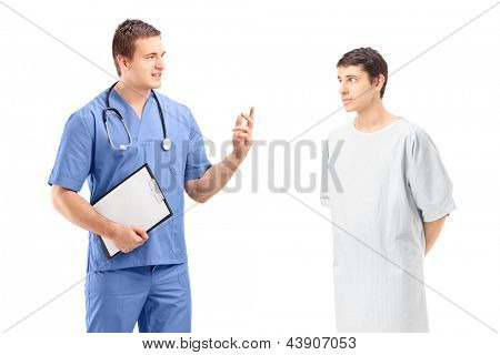 A male patient in a hospital gown and medical practitioner during a discussion isolated on white background