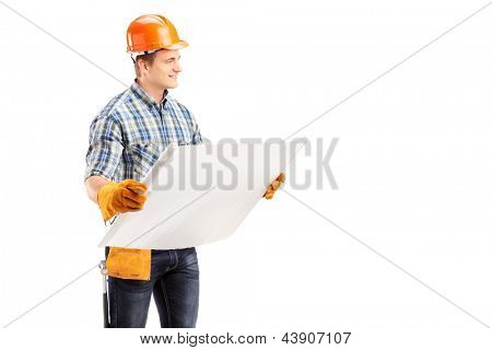 Male engineer with helmet and tool belt holding a blueprint, isolated on white background