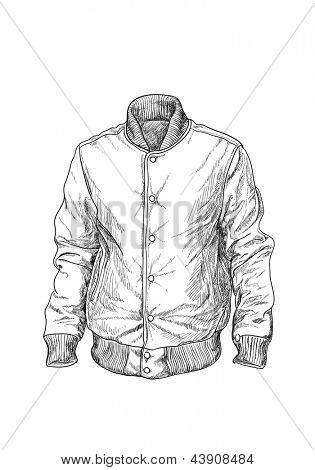 Baseball jaket on white background