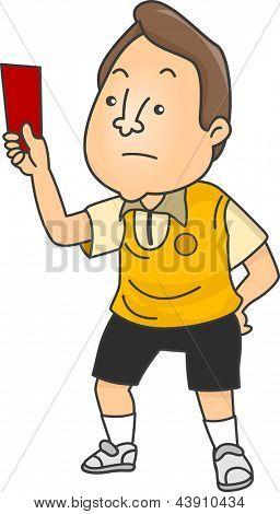 Ilustración de un árbitro FIFA hombre molesto con una tarjeta roja