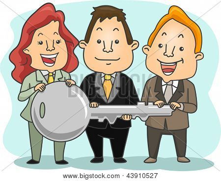 Illustration of two Businessman and a businesswoman Holding a Big Key