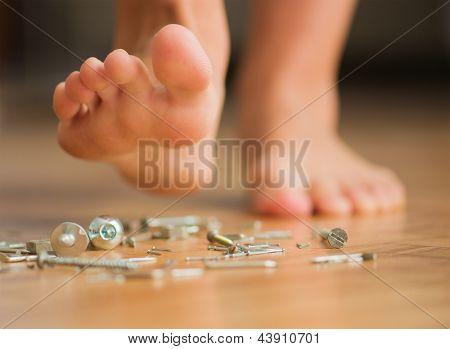 Human Foot Over Nail, Indoors