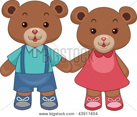 Illustration of Toy Teddy Bears Holding hands