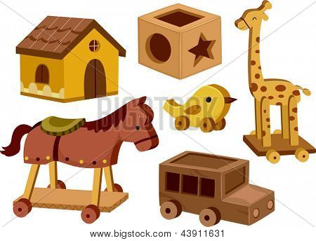 Illustration of different wooden toys in white background