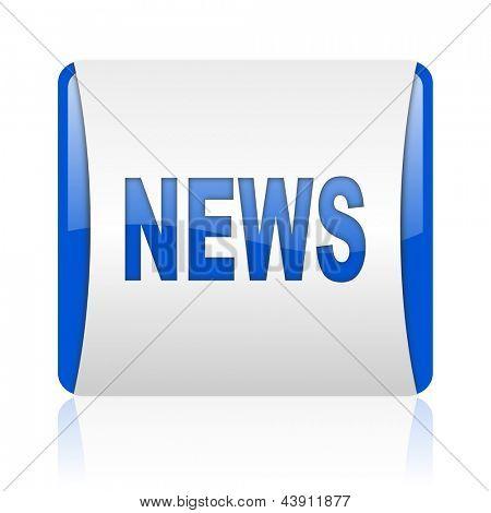 news blue square web glossy icon