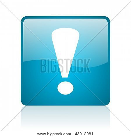 exclamation sign blue square web glossy icon