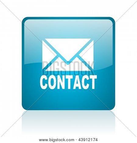 contact blue square web glossy icon