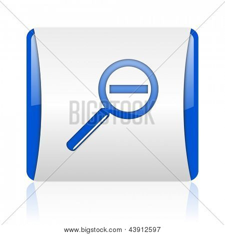 magnification blue square web glossy icon