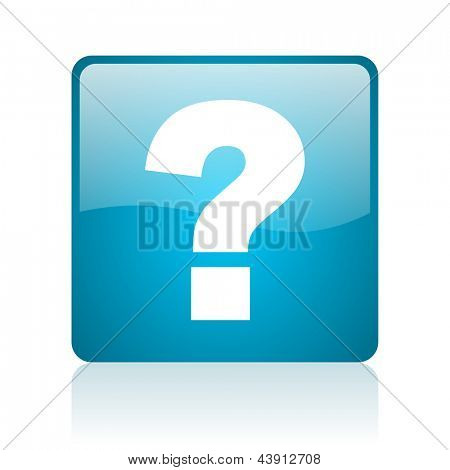 question mark blue square web glossy icon