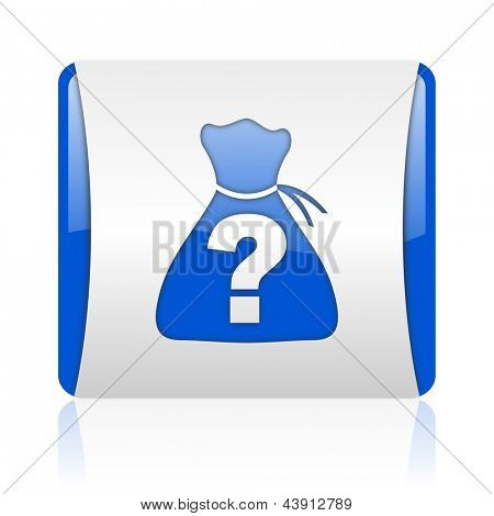 riddle blue square web glossy icon