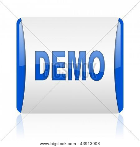 demo blue square web glossy icon