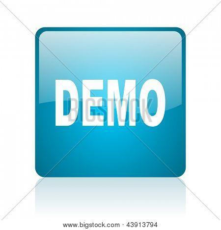 demo blue square web glossy icon
