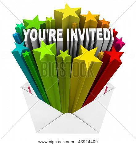 The words You're Invited in a burst of stars in an open envelope as an invitation to a party or other special event
