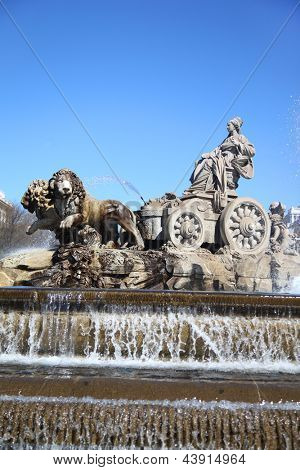 Cibeles Fountain at Cibeles Square in Madrid, Spain. Fountain was designed by Ventura Rodriguez in 1777.