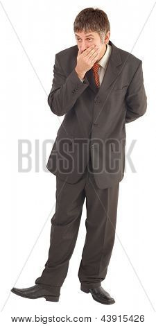 Astonished Businessman with Hand on Mouth Isolated on White Background