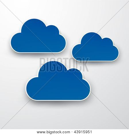 Vector abstract background composed of blue paper clouds over grey. Eps10.