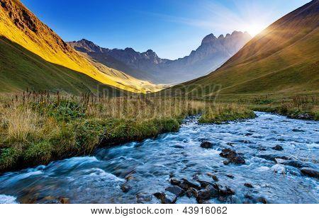 Beautiful view of mountain river in summer. Juta village - foot of Mt Chaukhebi. Georgia, Europe. Caucasus mountains. Beauty world.