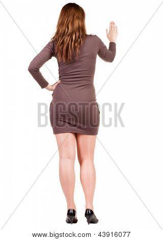 Rückansicht des geschäftsfrau. Isolated over white Background. Hintere Ansicht People-Auflistung. Rückseite