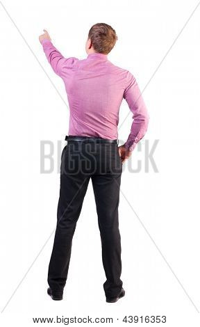 Back view of  pointing young business men. Rear view people collection.  backside view of person.  Isolated over white background. businessman with a sports figure demanded indicates something