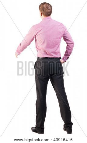 back view businessman out to shake hands. Rear view people collection. backside view of person. manager extends his hand in greeting. Isolated over white background. cocky office worker greets someone