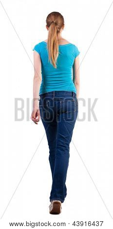 back view of walking  woman. beautiful blonde girl in motion. backside view person.  Rear view people collection. Isolated over white background. purposeful gait of long-haired blonde teen walks right